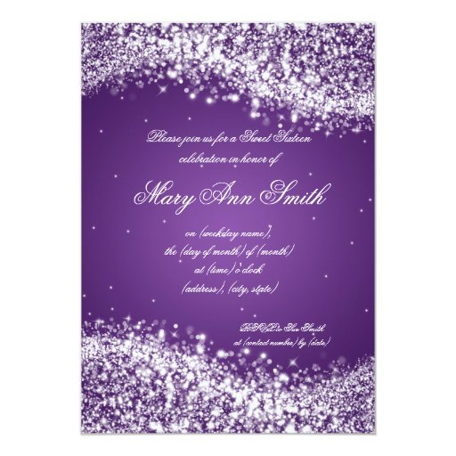 Sweet Sixteen Birthday Party Sparkling Wave Purple Announcements