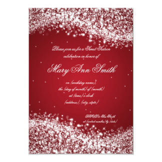 Sweet Sixteen Birthday Party Sparkling Wave Red 5x7 Paper Invitation Card