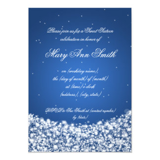Sweet Sixteen Birthday Party Star Sparkle Blue Cards