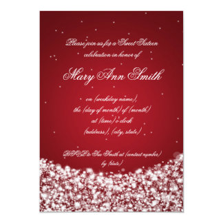 Sweet Sixteen Birthday Party Star Sparkle Red Personalized Announcement