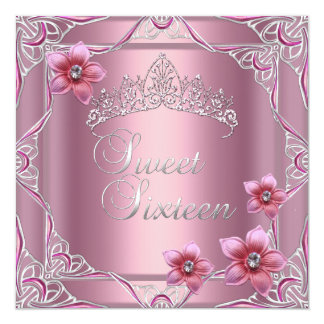 Sweet Sixteen Birthday Party Sweet 16 Pink Tiara 5.25x5.25 Square Paper Invitation Card