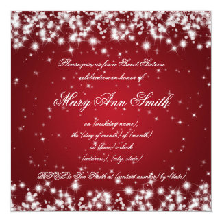 Sweet Sixteen Birthday Party Winter Sparkle Red Card