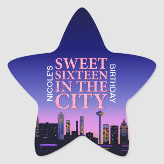 Sweet Sixteen Birthday Personalized Star Stickers