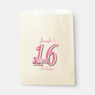 Sweet Sixteen Birthday   Pink Favor Bag