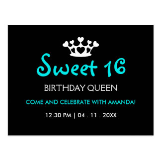 Sweet Sixteen Birthday Queen - Blue Black Invite Postcard