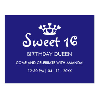 Sweet Sixteen Birthday Queen - Blue White Invite Postcard