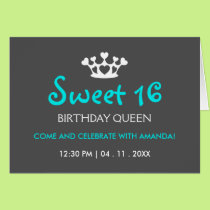 Sweet Sixteen Birthday Queen - Invite Blue Gray