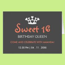Sweet Sixteen Birthday Queen - Invite Pink Gray
