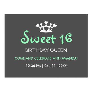 Sweet Sixteen Birthday Queen - Mint Gray Invite Postcard