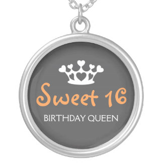 Sweet Sixteen Birthday Queen - Orange and Gray Silver Plated Necklace
