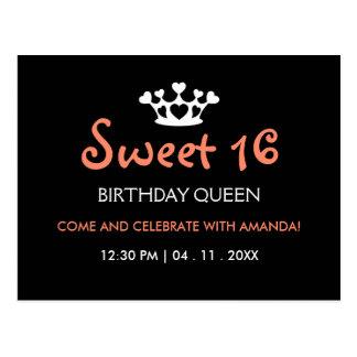 Sweet Sixteen Birthday Queen - Pink Black Invite Postcard