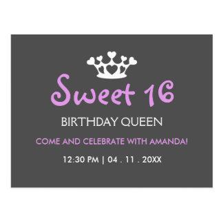 Sweet Sixteen Birthday Queen - Purple Gray Invite Postcard