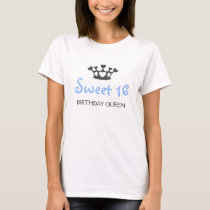 Sweet Sixteen Birthday Queen - Soft Blue on Light T-Shirt