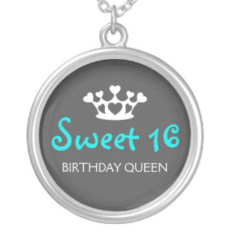 Sweet Sixteen Birthday Queen - Teal and Gray Silver Plated Necklace