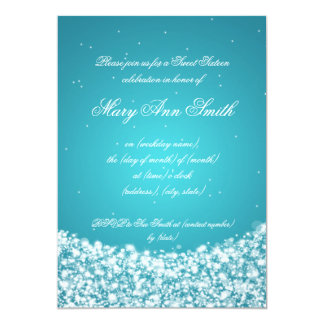 Sweet Sixteen Birthday Star Sparkle Turquoise Card