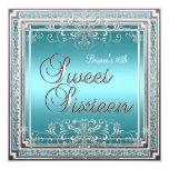 Sweet Sixteen Birthday Teal Blue Silver Teen Girl Custom Invitations