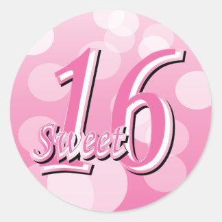 Sweet Sixteen Birthday Word Art Classic Round Sticker