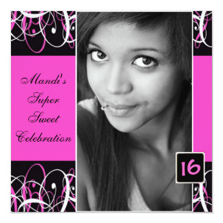 Sweet Sixteen Black and Pink Swirl Birthday Invite