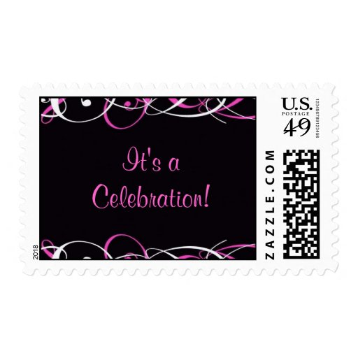 Sweet Sixteen Black and Pink Swirl Stamps