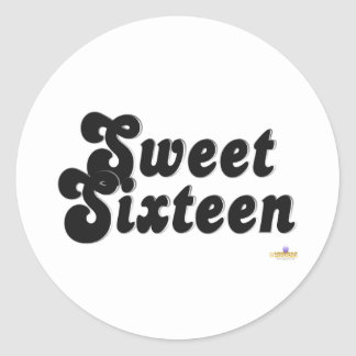 Sweet Sixteen Black And Silver Classic Round Sticker