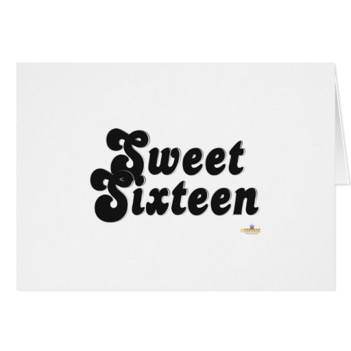Sweet Sixteen Black And Silver Greeting Card