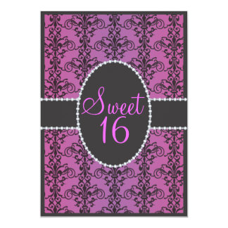 Sweet Sixteen Black Damask Purple Passion Party Custom Invites