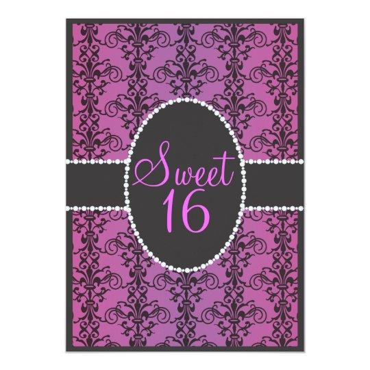 Sweet Sixteen Black Damask Purple Passion Party Invitation Zazzle Com