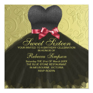 Sweet Sixteen Black Dress Birthday Invitation