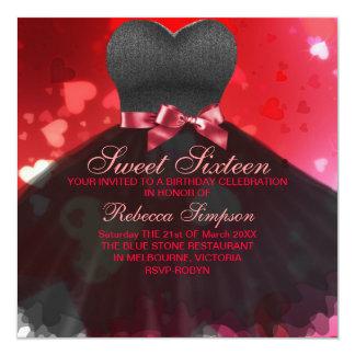 Sweet Sixteen Black & Red Dress/Heart Invitation