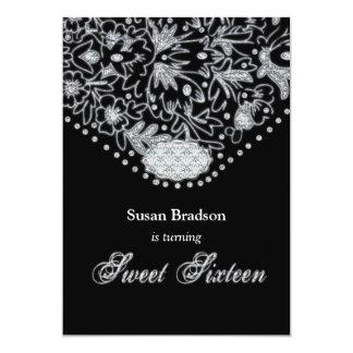Sweet Sixteen Black White Invitation