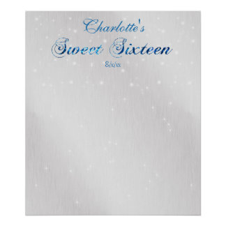 Sweet Sixteen, Blue, Faux Glitter, Guest Sign In, Poster