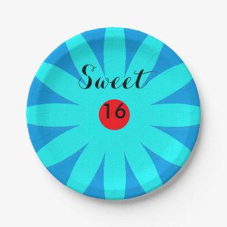 Sweet Sixteen Blue Floral Pattern Flowers Birthday Paper Plate