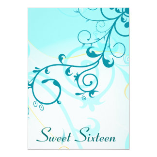Sweet Sixteen Blue Swirls 16th Party Invitations