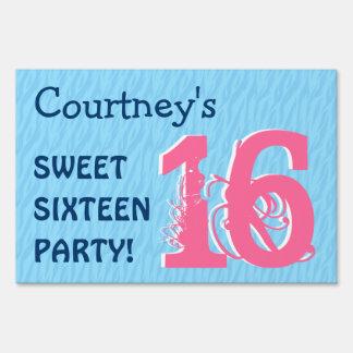 Sweet Sixteen Blue Zebra Birthday Celebration V3 Sign