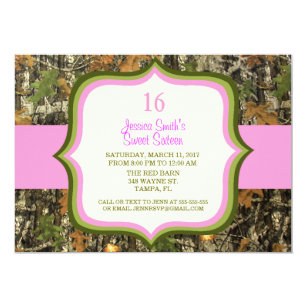Sweet Sixteen Camo Birthday Invitation