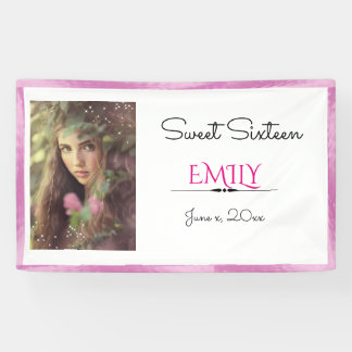 Sweet Sixteen, Custom Photo, Pink and White Banner