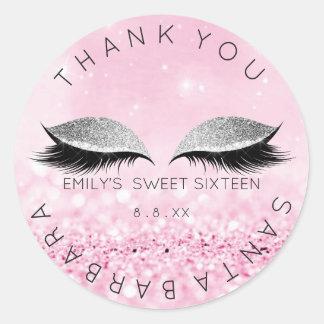 Sweet Sixteen Diamond Pink Rose Lashes Glitter Classic Round Sticker