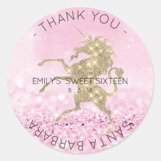 Sweet Sixteen Diamond Pink Rose Unicorn Glitter Classic Round Sticker