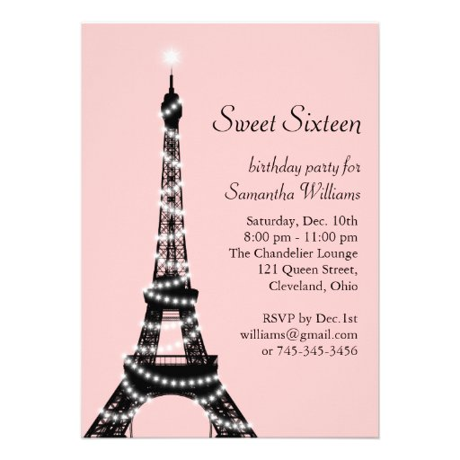 Sweet Sixteen Eiffel Tower Invitation
