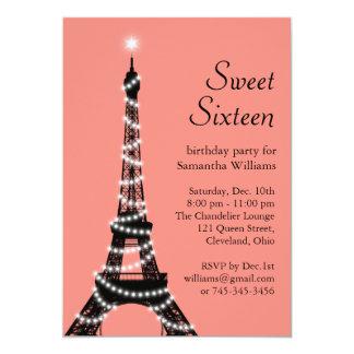 Sweet Sixteen Eiffel Tower Invitation in coral