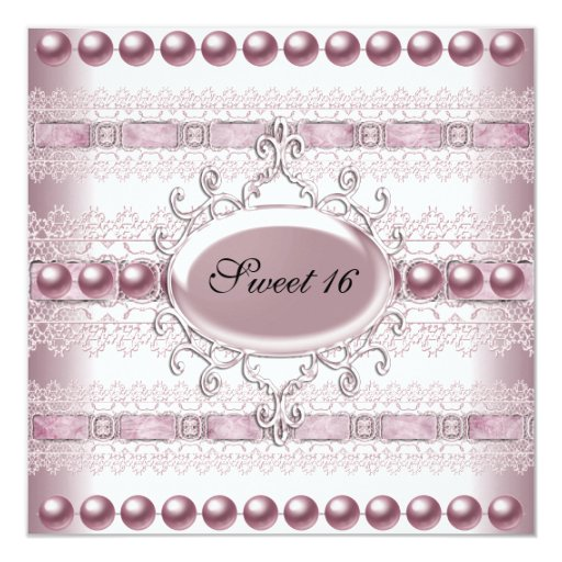 Sweet Sixteen Elegant Pearl Silver Pink Lace 5.25x5.25 Square Paper Invitation Card