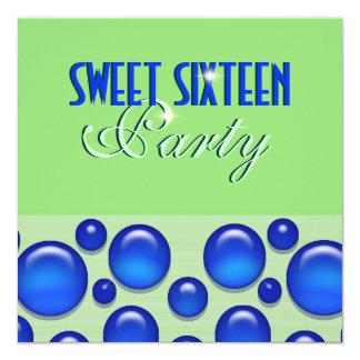 """sweet sixteen"" elegant polka dot 5.25x5.25 square paper invitation card"