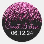 Sweet Sixteen Falling Stars Pink Round Stickers