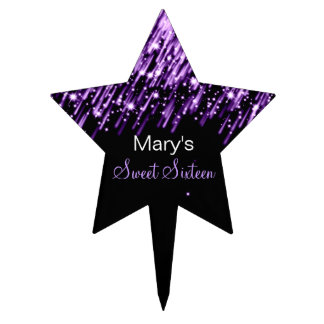 Sweet Sixteen Falling Stars Purple Cake Topper