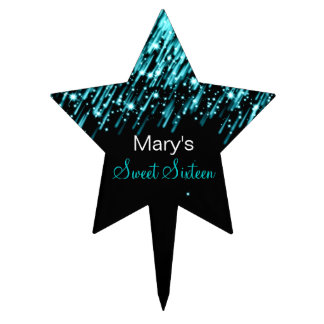 Sweet Sixteen Falling Stars Turquoise Cake Topper