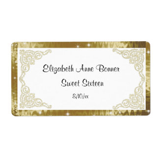 Sweet Sixteen, Faux Glitter and Gold, Water Bottle Label