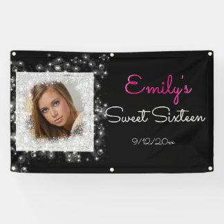 Sweet Sixteen, Faux Glitter, Custom Photo Banner