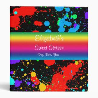 Sweet Sixteen, Faux Neon Paint Splatter, Photo 3 Ring Binder