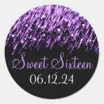Sweet Sixteen Favor Falling Stars Purple Stickers