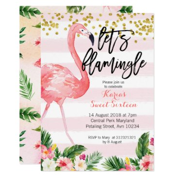 Beach Themed Sweet sixteen flamingo invitation
